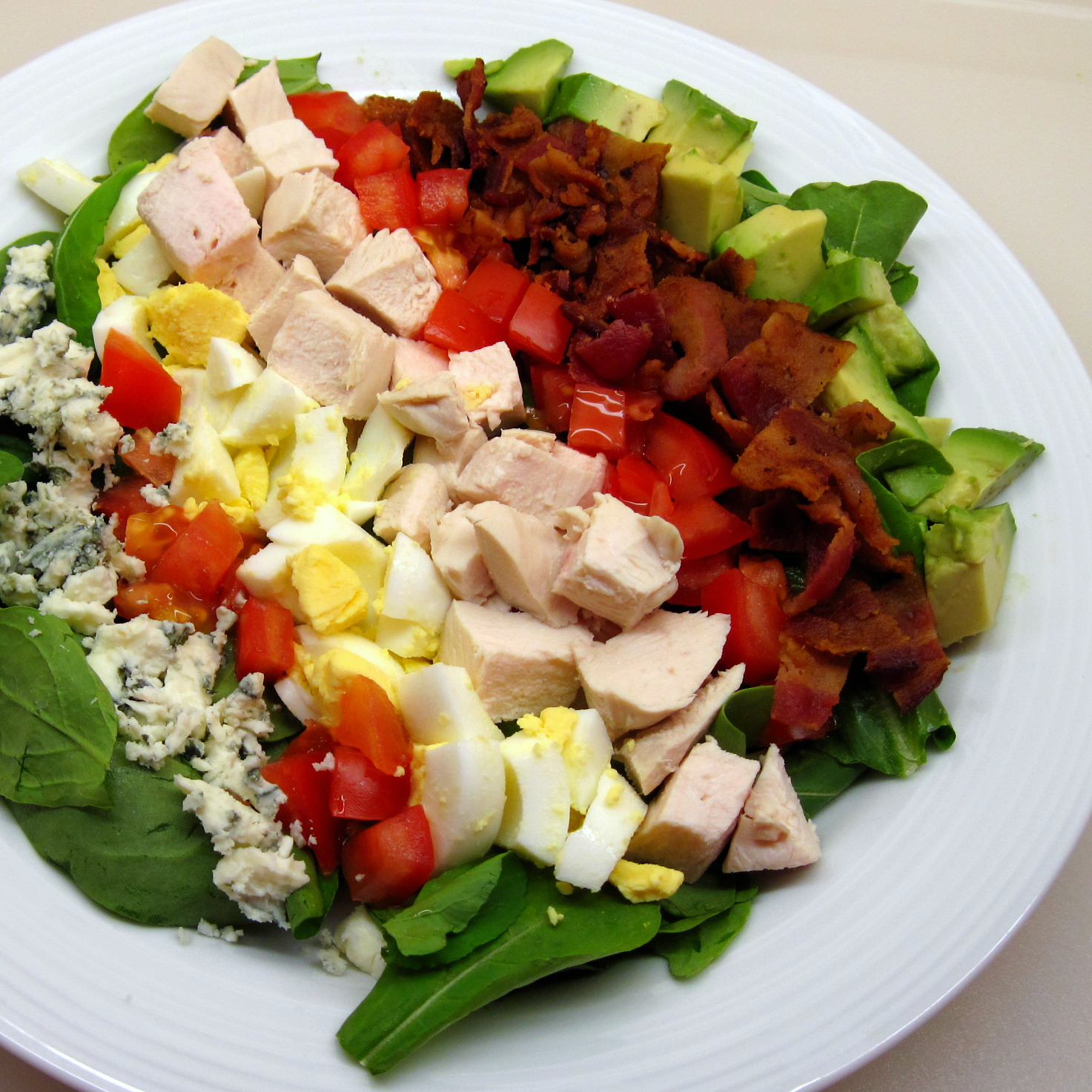 Cobb Salad. Just add bacon, eggs, and chicken. Avocado optional.